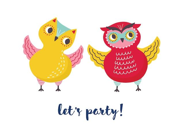 かわいいうれしそうなフクロウと筆記体フォントで手書きされたレッツパーティーのレタリングのペア