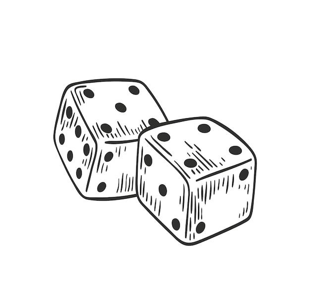 Пара кубиков, лежащих с четырьмя и пятью сверху с черными контурными линиями