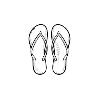 フリップフロップスリッパ手描きアウトライン落書きアイコンのペア。夏休み、サンダル、休日、靴のコンセプト