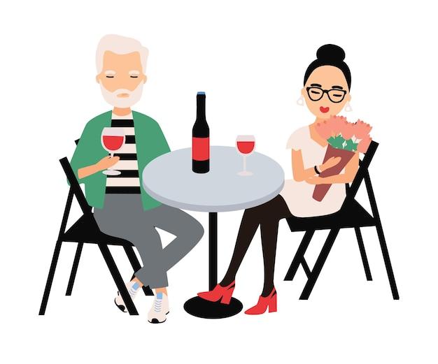 テーブルに座って赤ワインを飲むエレガントな服を着た男女のペア。ロマンチックなデートや会議でのカップル。レストランの恋人たち。フラットスタイルの漫画のカラフルなベクトルイラスト