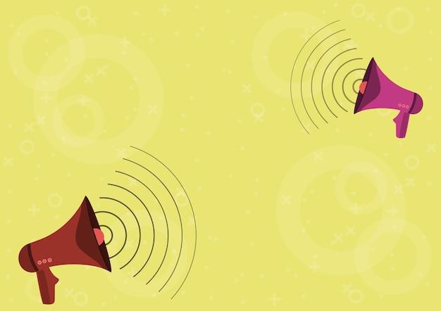 Пара мегафонов, создающих звуковые волны, делает новое объявление. рисунок bullhorns создание частотной модуляции для продвижения поздней рекламы.