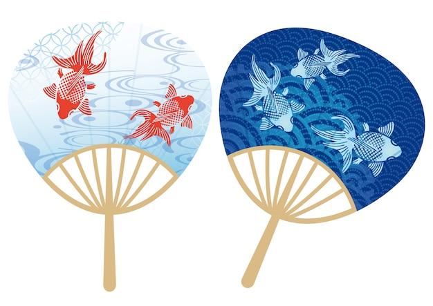 日本の伝統的な夏祭りのための紙のファンのペア