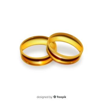 Пара реалистичных золотых обручальных колец