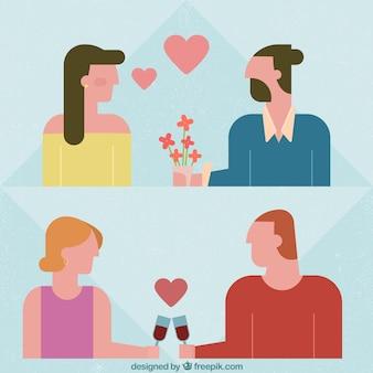 미니멀리스트 스타일의 로맨틱 커플 쌍