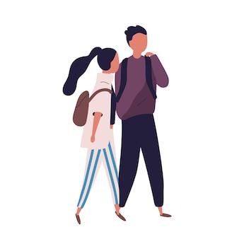 Пара школьного подростка и девочки. веселые студенты, ученики, одноклассники или друзья гуляют вместе и разговаривают, разговаривают или болтают. красочные векторные иллюстрации в современном плоском стиле.