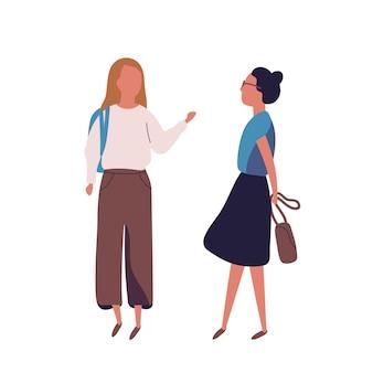 白い背景で隔離の10代の少女のペア。女子学生、生徒、クラスメートが話し合っています。 2人の友人またはティーンエイジャーの出会い。モダンなフラットスタイルの色付きベクトルイラスト。