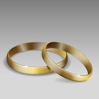 결혼 반지의 쌍입니다. 금. 현실적인 3d 그림입니다.