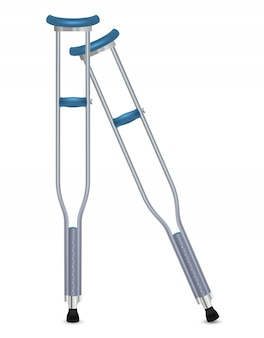 Pair of orthopedic crutches.