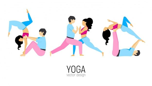 Pair practicing yoga