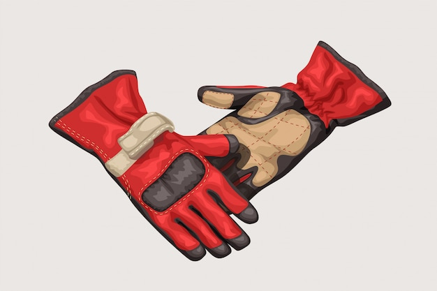 Pair of racing gloves on white