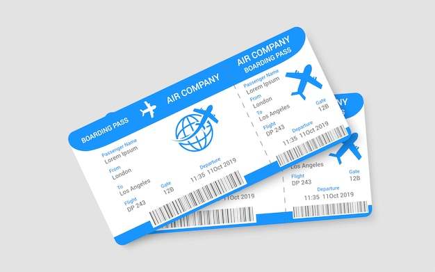 Pair of realistic airline tickets concept