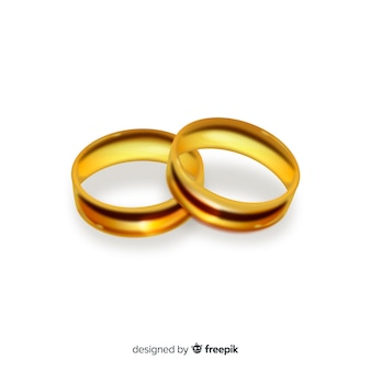 Pair of realistic golden wedding rings