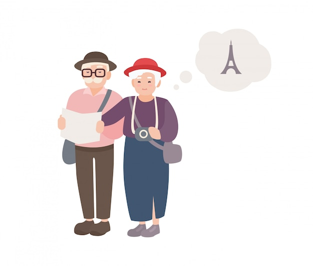 Pair of smiling elderly male and female tourists with map. happy old couple traveling world. grandparents on vacation in france. cartoon characters isolated on white background. illustration.