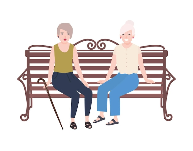 Pair of smiling elderly women sitting on bench and talking. happy meeting of two old ladies or friends. cute flat female cartoon characters isolated on white background. colorful vector illustration.