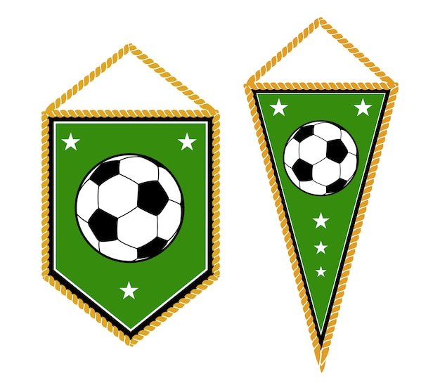 A pair of soccer pennants isolated white
