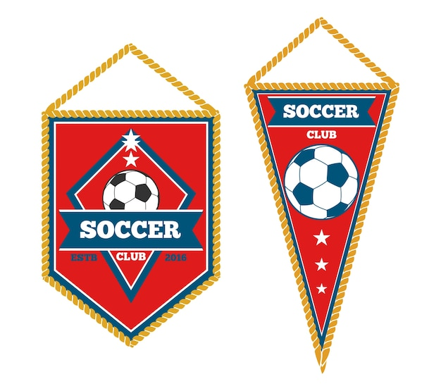 A pair of soccer pennants isolated