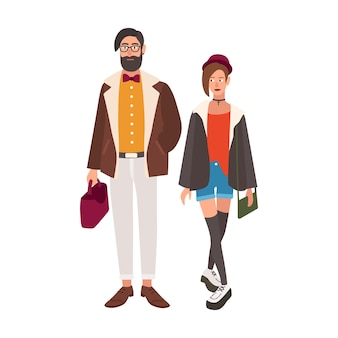 Pair of stylish hipsters. young man and woman dressed in fancy trendy clothes. stylish couple