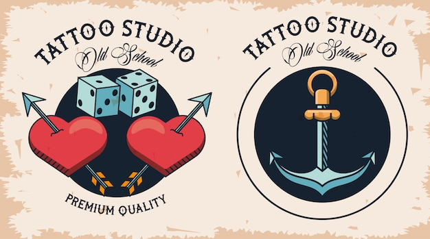 Pair of tattoo studio logos