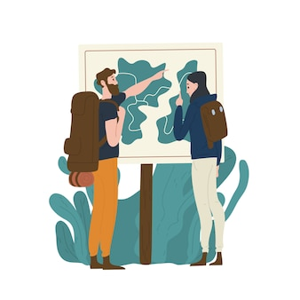 Pair of tourists standing in front of map and checking their route. young man and woman hiking or backpacking in nature. male and female hikers in adventure travel. flat cartoon illustration.