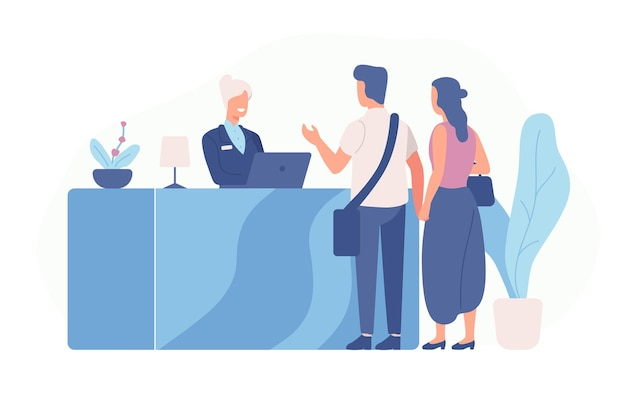Pair of tourists or travellers standing at reception desk and talking to receptionist