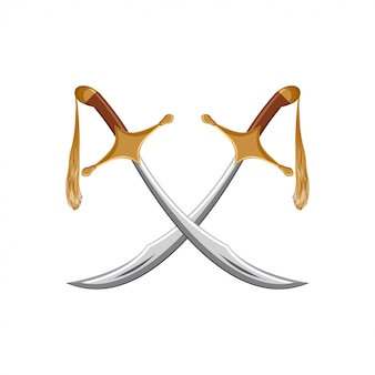 A pair of traditional turkish swords scimitar.