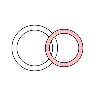 A pair of wedding rings of the bride and groom. jewelry. simple wedding icon. doodle vector illustration