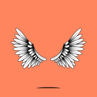 Pair of wings element on an orange background