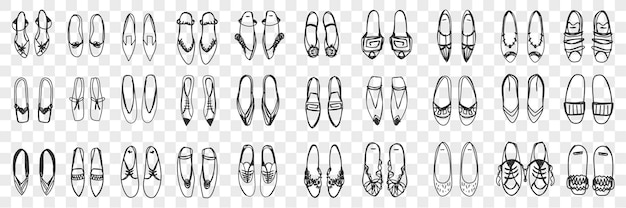Pairs of feminine shoes doodle set. collection of hand drawn stylish elegant shoes sandals and sneakers pairs standing in rows isolated.
