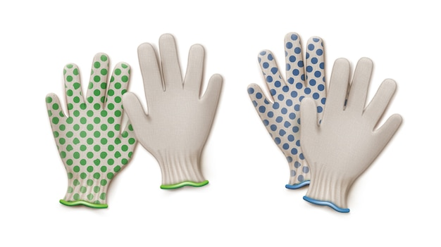 Pairs of green and blue gardening work gloves isolated