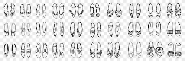 フェミニンな靴の落書きセット。孤立した列に立っている手描きのスタイリッシュでエレガントな靴のサンダルとスニーカーのペアのコレクション。