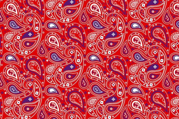 ペイズリーバンダナの赤いパターン