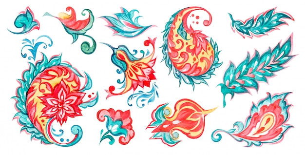 Paisley floral watercolor illustration set with flowers turquoise and orange colors on white background.