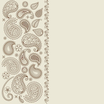 Paisley leaf henna elements greeting card