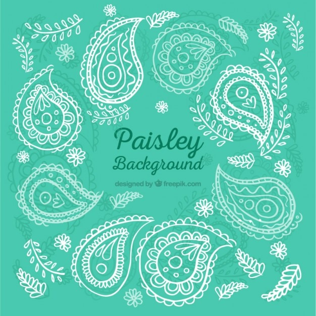 Paisley ornamental turquoise background