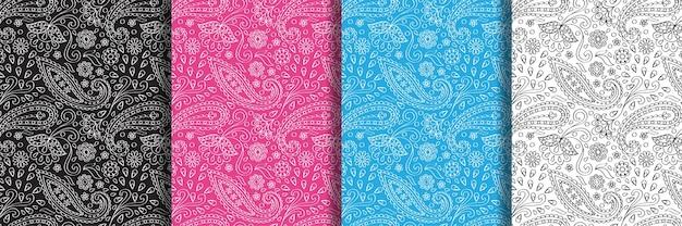 ペイズリーアウトラインシームレスパターンセット抽象的な繰り返し壁紙テキスタイルプリント民族的背景