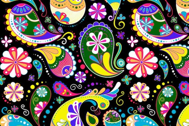 페이즐리 패턴 배경, 화려한 디자인 벡터에 인도 꽃 그림