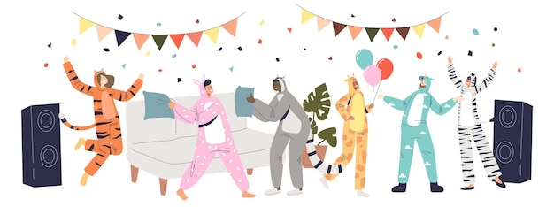 Pajama party event with people dressed in onesize kigurumi jumpsuits of different funny animals dance and have fun together. cartoon flat vector illustration