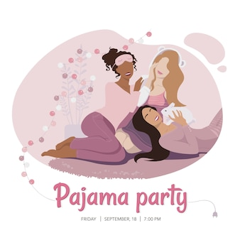 Pajama party flyer template with three cheerful girls in pink nightwear sitting on the carpet