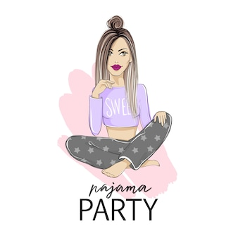 Pajama party illustration with beautiful young blonde woman.