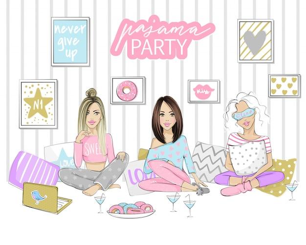 美しい若い女性、女の子、ティーンエイジャーとパジャマパーティーイラスト。楽しいイベントのポスター、カバー、バナー。