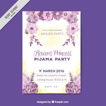 Pajama party invitation with flowers