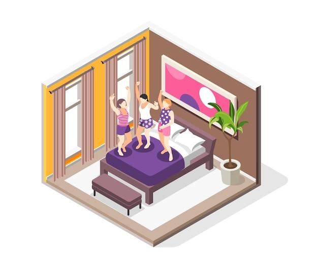 家のインテリアイラストでベッドにジャンプする3人の若い幸せな女の子とパジャマパーティー等角投影図
