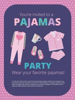 パジャマパーティーのポスター。夜のパーティーの子供と親のナイトウェアカジュアル服素晴らしいベッドパーティーベクトル。イラストパジャマパーティー、ネグリジェの夜の睡眠の見出し