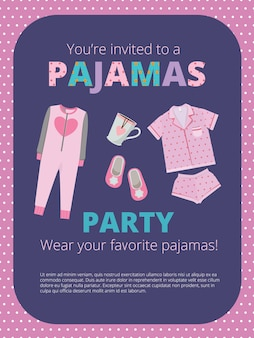 Pajama party poster. night party kids and parents nightwear casual clothes great bed party vector. illustration pajama party, night sleep headline in nightdress