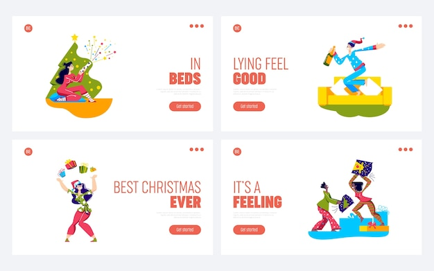 Pajama party set of landing pages with cartoon characters