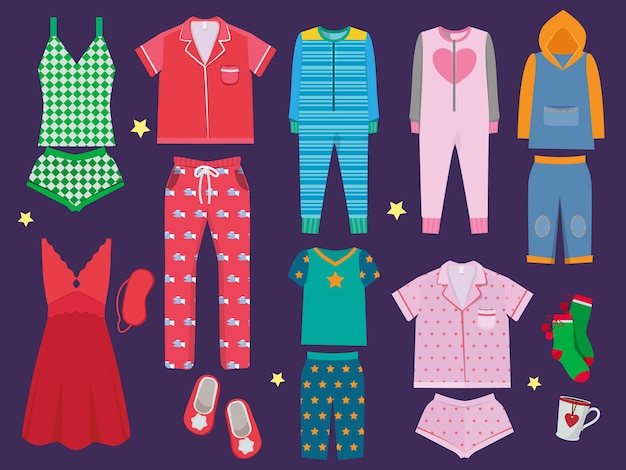 Pajamas set. sleeping clothes collection for children and adults sleepwear textile  colored cartoon illustration. fashion clothes for bedtime, textile apparel sleepwear