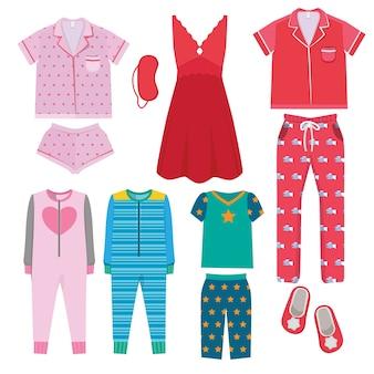 Пижамы. текстильная ночная одежда для детей и родителей пижамы перед сном векторные цветные картинки. иллюстрация текстильная ночная пижама для девочки и мальчика