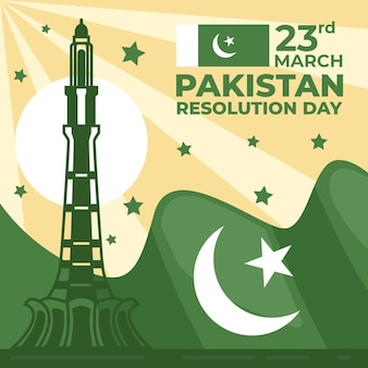Pakistan day illustration with flag and minar-e-pakistan building