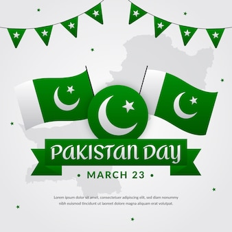 Pakistan day illustration with flags and garland