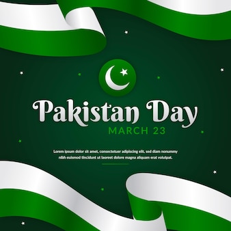 Pakistan day illustration with flags